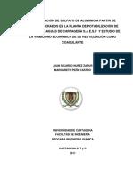 RECUPERACIÓN DE SULFATO DE ALUMINIO A PARTIR DE LODOS GENERADOS EN LA PLANTA DE POTABILIZACIÓN DE LA EMPRESA AGUAS DE CARTAGENA S