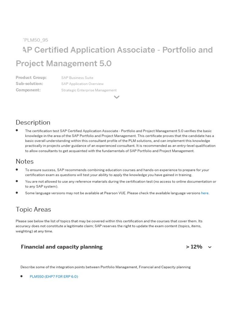 Ctplm5095 Sap Certified Application Associate Portfolio And