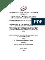 Reparos Tributarios Impuesto a La Renta Yenque Chiroque Arturo Maximiliano