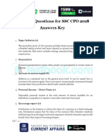 Expected Questions for SSC CPO 2018 Answers Key