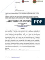 Politeness and Complimenting Within an Algerian Context -A Socio-pragmatic Analysis (1)