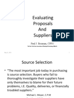 Evaluating Proposals and Supplier