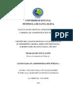 Gestión Del Talento Humano y Su Incidencia en El Desempeño Laboral, Dirección Provincial Agropecuaria de Santa Elena, Año 2013-Internacional}