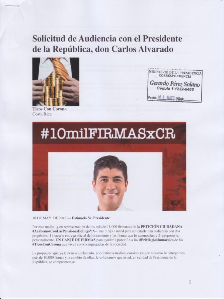 Solicitud de Audiencia con el Presidente de la República, don Carlos Alvarado