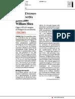 Sigillo di Ateneo per l'emerito galileiano William Shea - Il Corriere Adriatico del 23 maggio 2018
