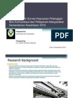 Laporan Survey Kepuasan Pelanggan Kementerian Kesehatan 20 September 2016 - Pend