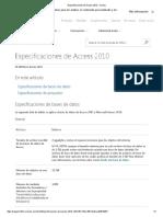 Especificaciones de Access 2010 - Access
