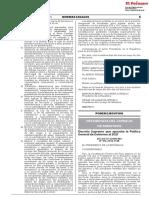 Decreto Supremo que aprueba la Política General de Gobierno al 2021