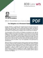 544. Tax Obligation of a Permanent Establishment - FDD 11 3 16