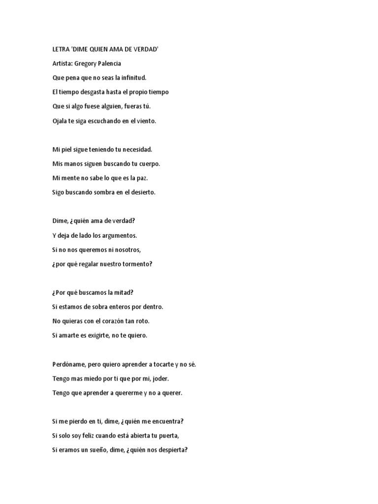 Dime Quien Ama De Verdad Gregory Palencia Letra