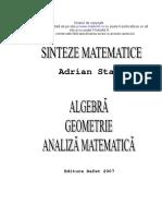 Sinteze matematice - algebra, geometrie, analiza matematica (Adrian Stan).pdf