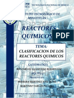 Clasificacion de Los Reactores Quimicos