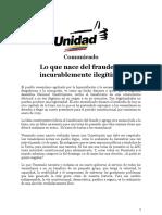 Comunicado Mesa de La Unidad Democrática 24.05.2018 Lo Que Nace Del Fraude Es Incurablemente Ilegítimo