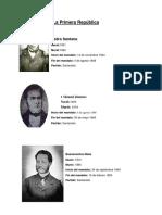 Presidentes de La Primera República