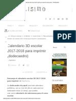 Calendario 3D Escolar 2017-2018 Para Imprimir (Dodecaedro) - PAPELISIMO