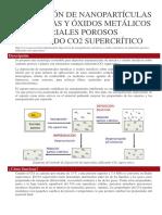 Deposición de Nanopartículas Metálicas y Óxidos Metálicos en Materiales Porosos Utilizando Co2 Supercrítico