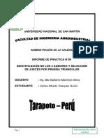 INFORME DE PRACTICAS N°4 IDENTIFICACIÓN DE LOS 4 SABORES Y SELECCIÓN DE JUECES POR PRUEBA TRIANGULAR