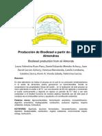 Producción de Biodiesel a Partir de Aceite de Almendras