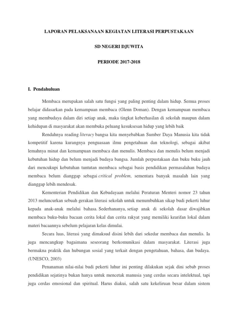 Laporan Pelaksanaan Kegiatan Literasi Perpustakaan