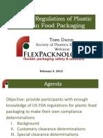 Us FDA Regulation of Plastics Used in Food