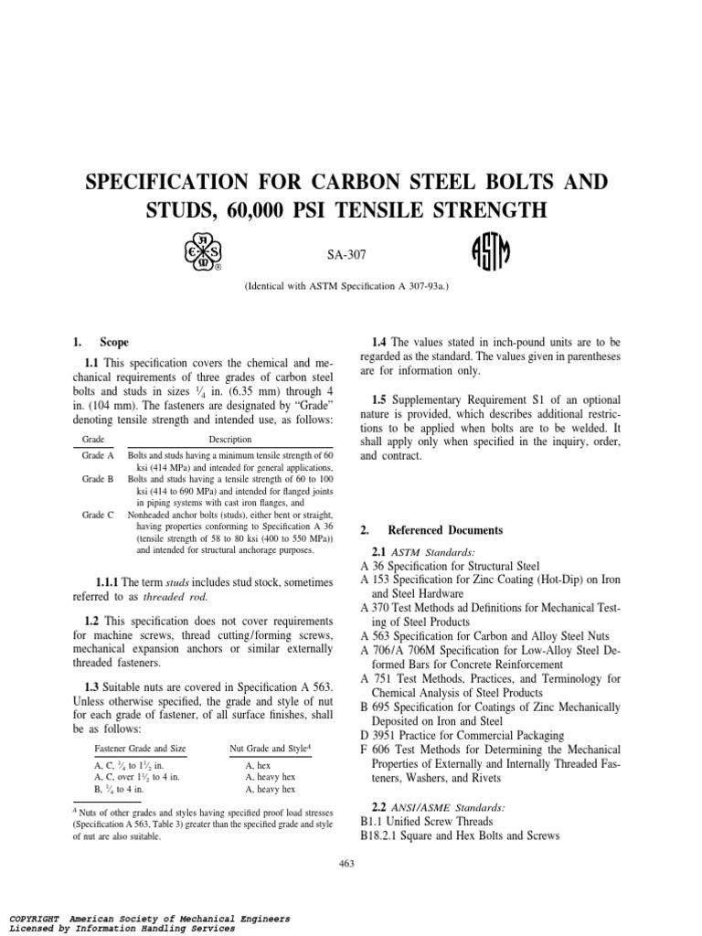 ASTMA307-93aSpecificationforCarbonSteelBoltsandStuds60