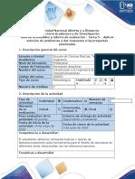 Guía de Actividades y Rubrica de Evaluación - Tarea 5 - Aplicar Solución de Problemas y Dar Respuesta a Las Preguntas Planteadas