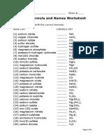 Chemical Formula and Names Worksheet
