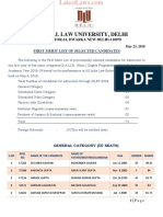 AILET,2018- First Merit List of Selected Candidates