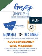 RKVV Wijnandia - KVC Oranje