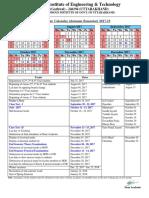 Academic Calendar Autumn Semester 2017-18