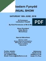 Llanbadarn Show 2018 Schedule