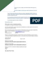 Informacion Del Correo Electronico Que Envio El Proveedor