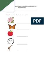Práctica Evaluada de Adjetivos Calificativos y Adjetivo Determinativo