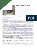 Historia de Las Instituciones en La Antigua Roma