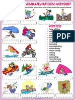 Extreme Sports Vocabulary Esl Matching Exercise Worksheet for Kids