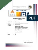 Certificación Fia Acbsp