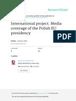 A.stepinskaInternationalproject.mediacoverageofthePolishEUpresidency
