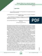BOJA Presupuesto comunidad autónoma Andalucía 2017