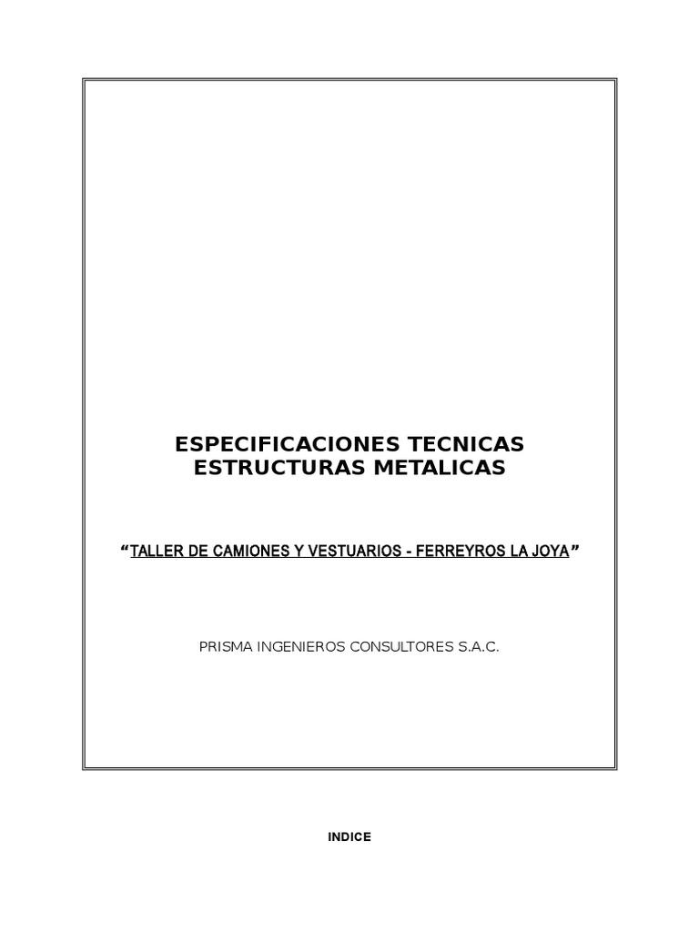 Especificaciones Tecnicas Estructuras Metalicas Ferreyros