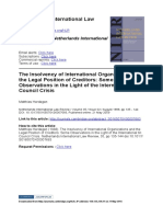 Herdegen, Matthias -- The Insolvency of International Organizations and the Legal Position of Creditors