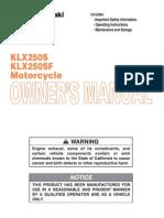 Kawasaki KLX250S Owners Manual - 01 Top