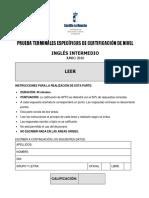 Inglés Intermedio-B1. Comprensión Escrita. Prueba