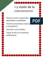 Misión y Visión de La Institucion Educativa