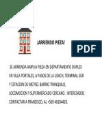 ARRIENDO PIEZA