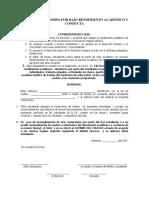 Acta de Compromiso Por Bajo Rendimiento Académico y Conducta