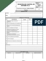 LCPT-001 REV 0 Registro de Control Del Sistema PAT