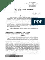 Hocevar, D - Sujeto, Diálogo y Trascendencia en Edipo en Colono de Sófocles.pdf