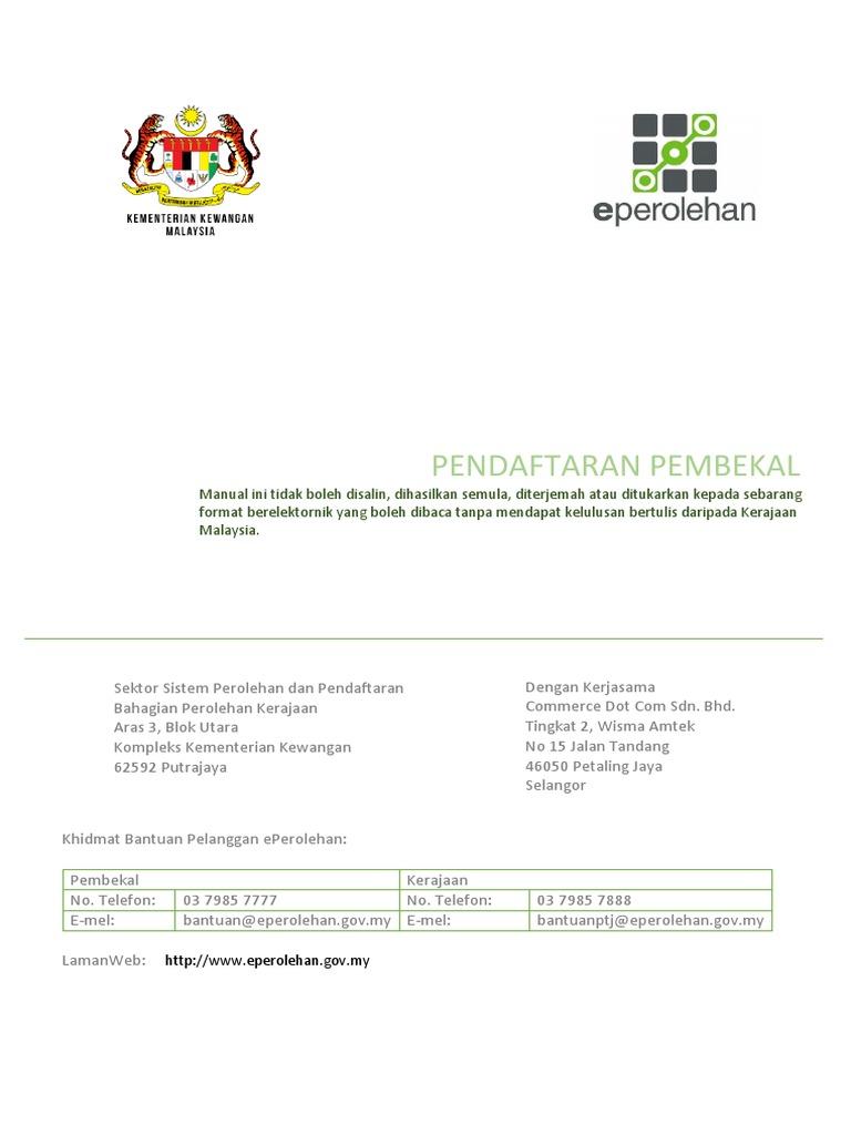 Manual Pengguna Pengurusan Pembekal Pendaftaran Pembekal