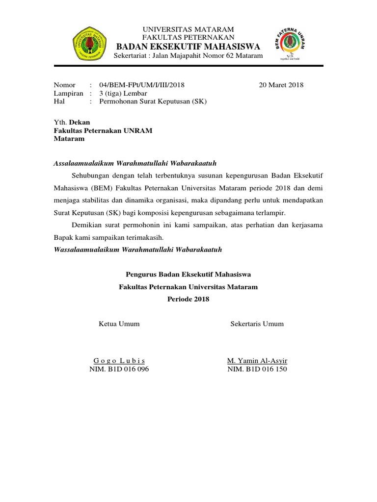 Surat Permohonan Sk Pengurus Bem 2018