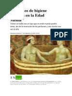 10 Hábitos de Higiene Insólitos en La Edad Media